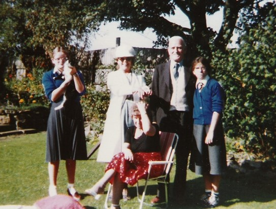 with Mam, Grandad and Nana Eagle and a cat (or is it a rabbit
