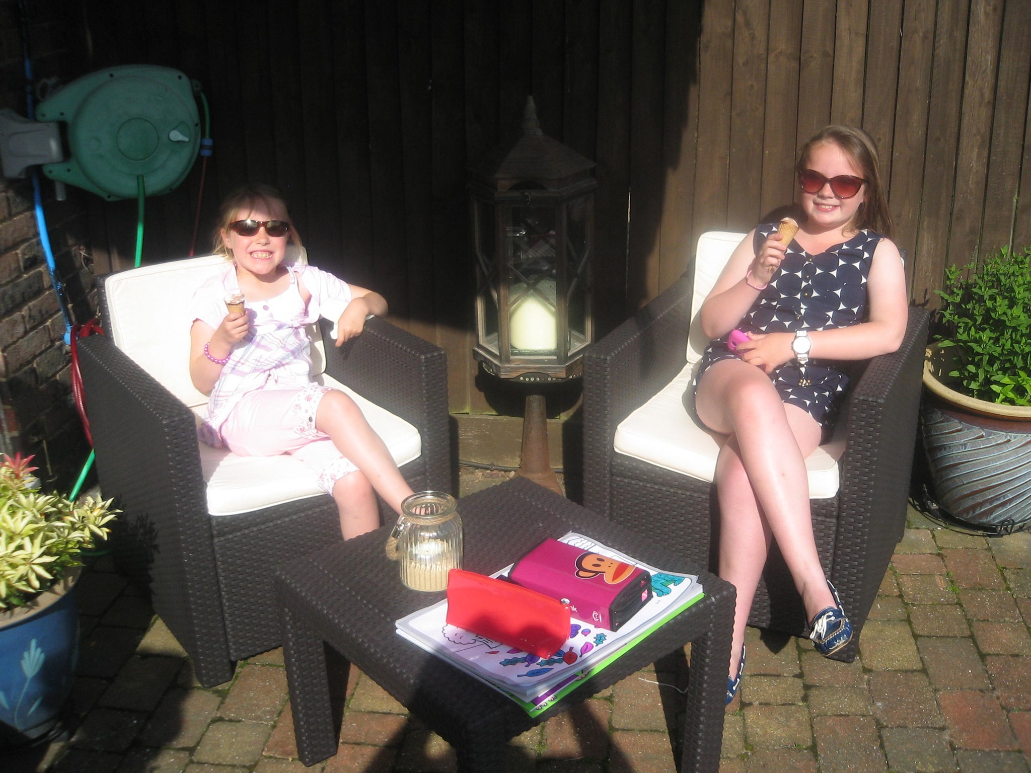 The girls chilling out at Nannie precious & Dids.