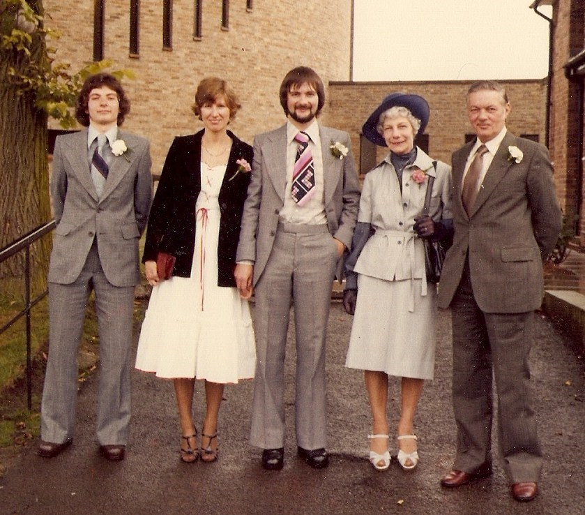 Martin Sue Nigel Freda Peter, 16 August 1980, Nigel, Sue's wedding day