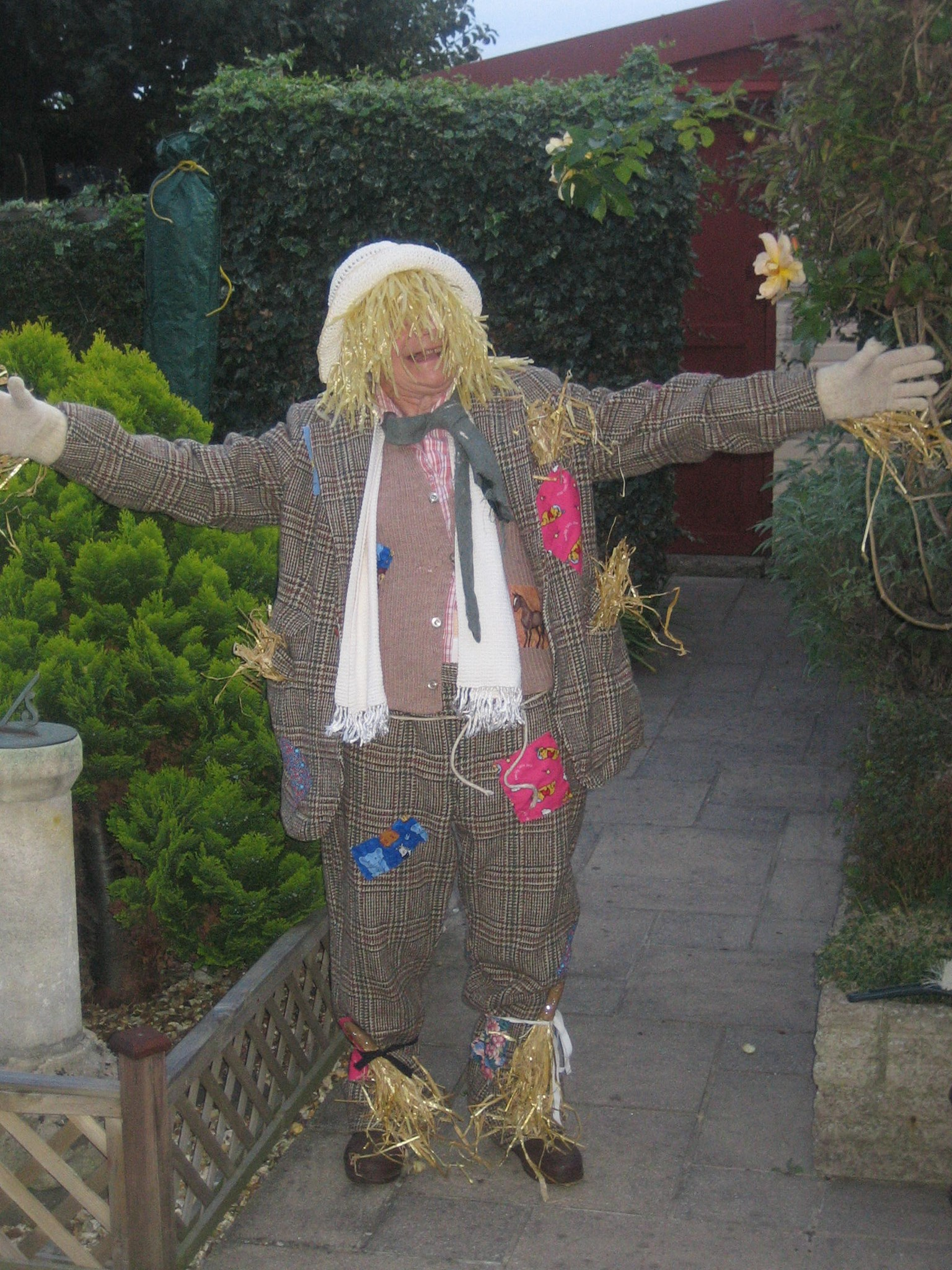 2009-08-31 Mum as a scarecrow in Women's Institute play costume