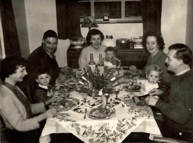 Christmas 1958 Freda, Nigel, Peter (Pip), Marjory, Ian, Joyce, Sue and Rowley. A very happy time.