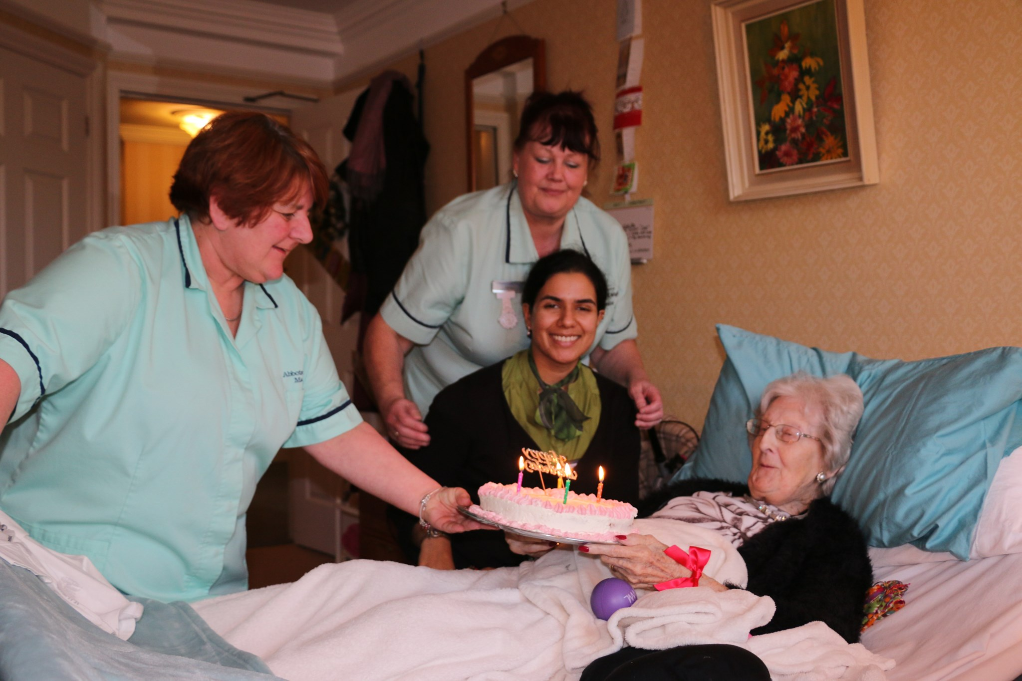 With carers, Carol and Jackie on Lorna's 94th birthday