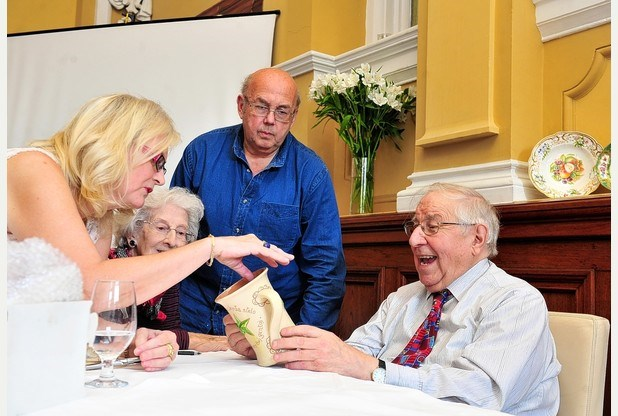 Lorna with Henry Sandon in Wales discussing antiques with Tony and Nikki