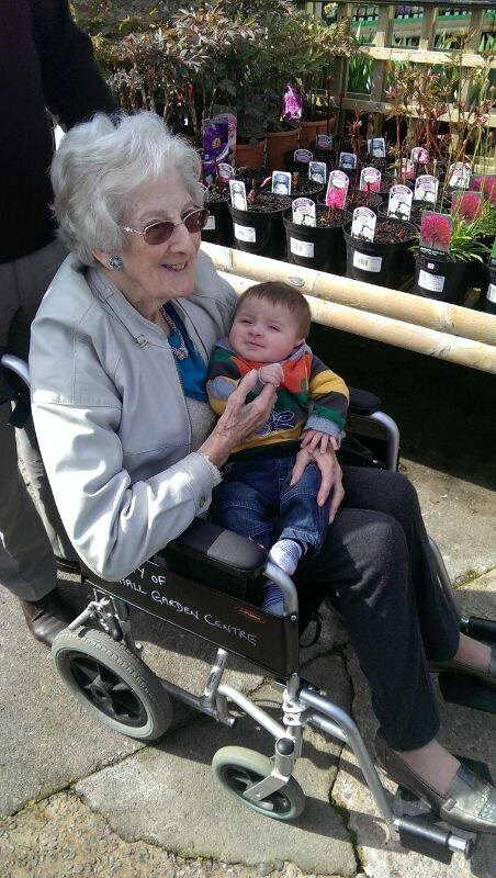 Great Nanny and Sam enjoying an outing to a Garden Centre