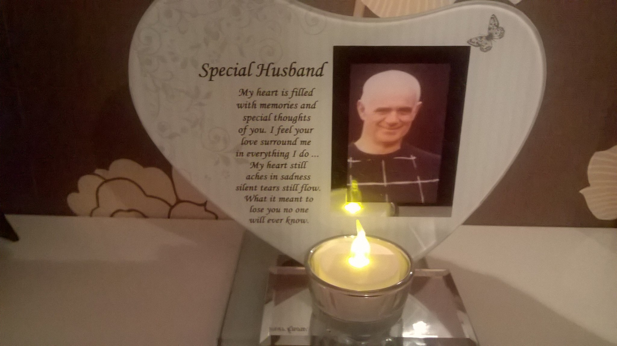 special husband in memory frame and candle