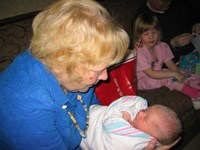 Mom and Calvin - her first look into her grandson's eyes