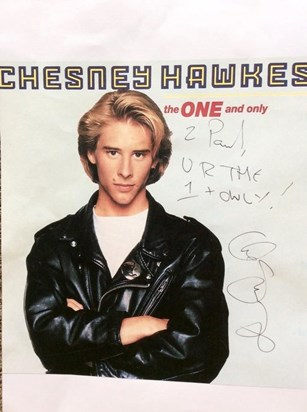 Chesney Hawkes signed picture to Paul