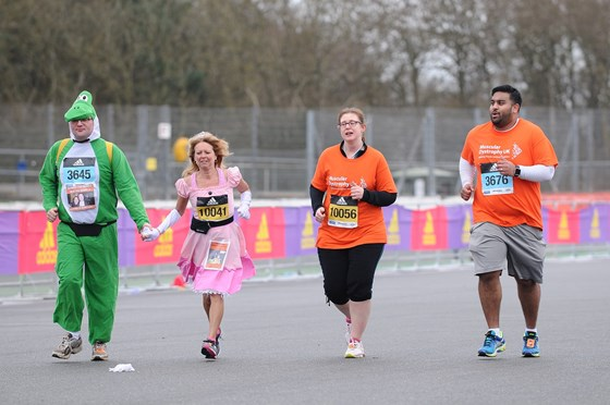 March 2017 Silverstone Half Marathon Team coming in to the finish