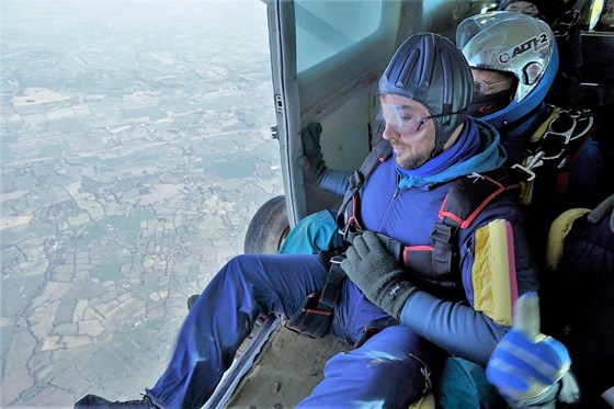 February 2018 Matt about to exit plane   Headcorn Skydive