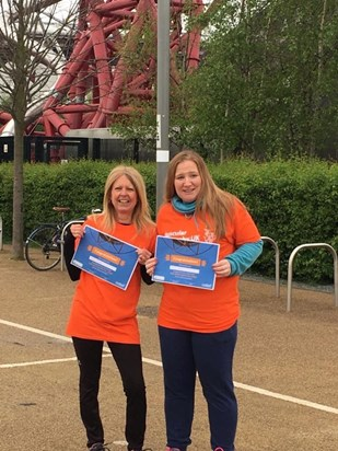 April 2018 Claire and Anne proudly displaying certificates for abseiling The Orbit