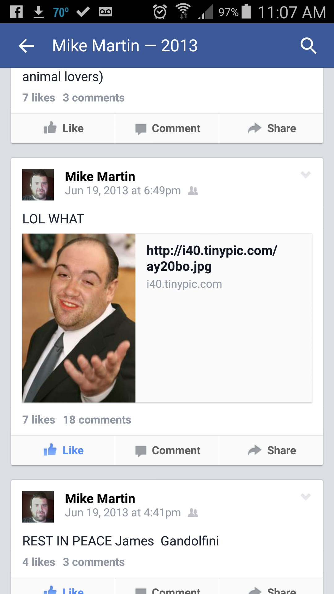 Mike was always bombarded with meme of himself by others.  This one he thought was genius.