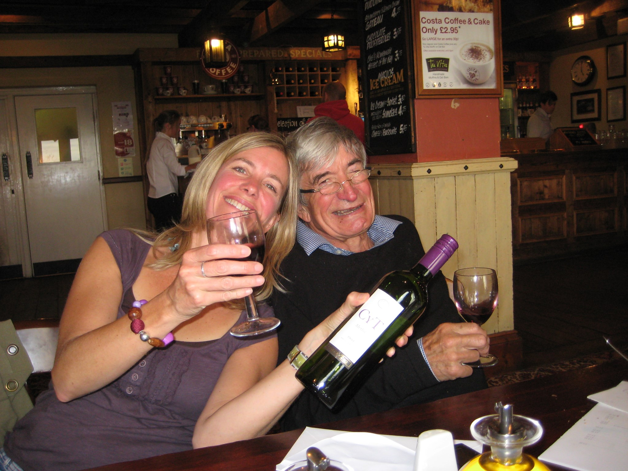 Peter & Catherine enjoying a glass of red