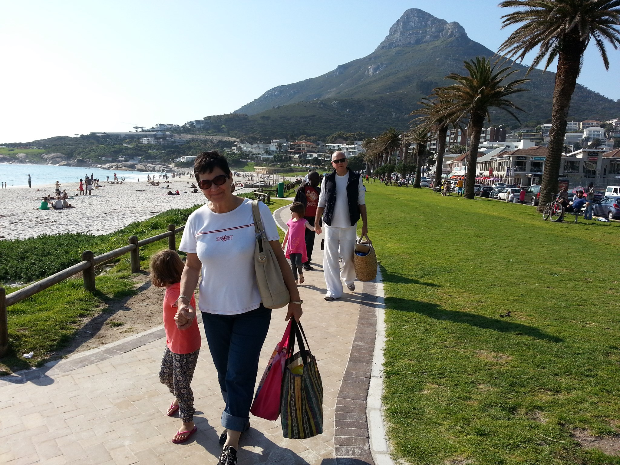 Walk at Camps Bay with Granddaughters
