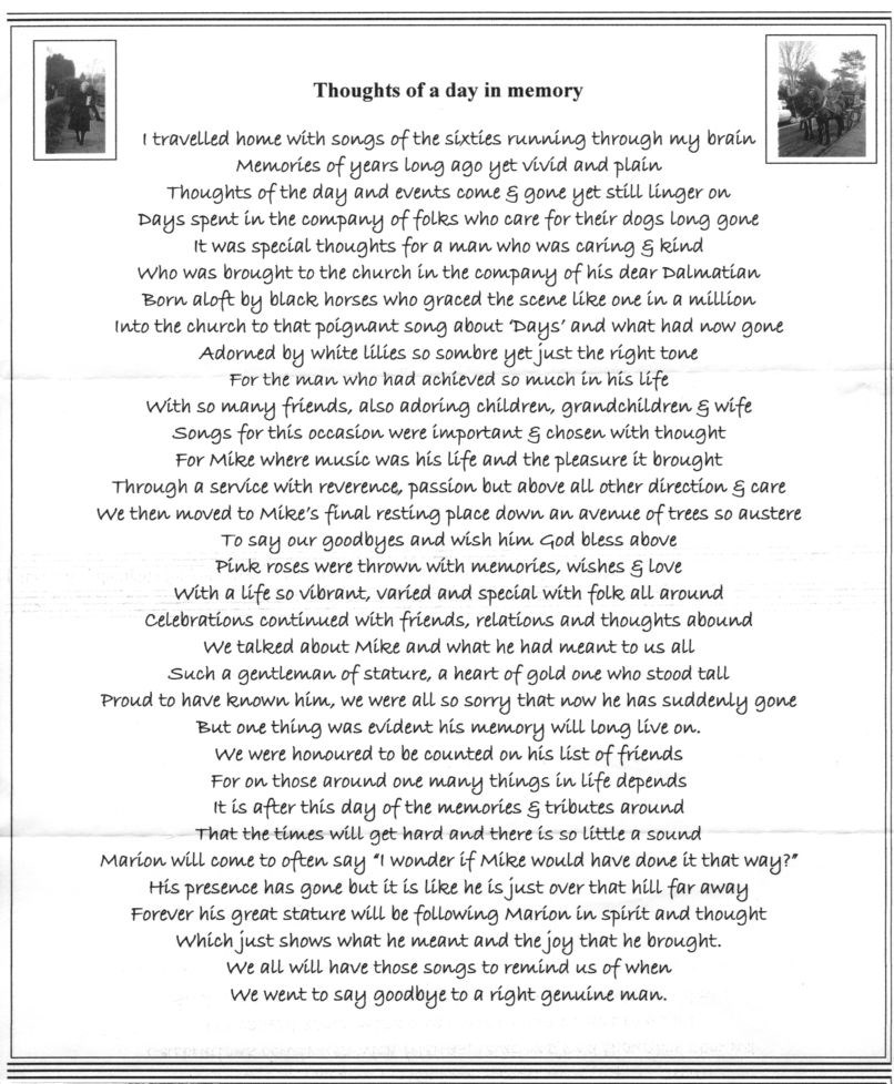 A beautiful poem sent to Mummy following the funeral