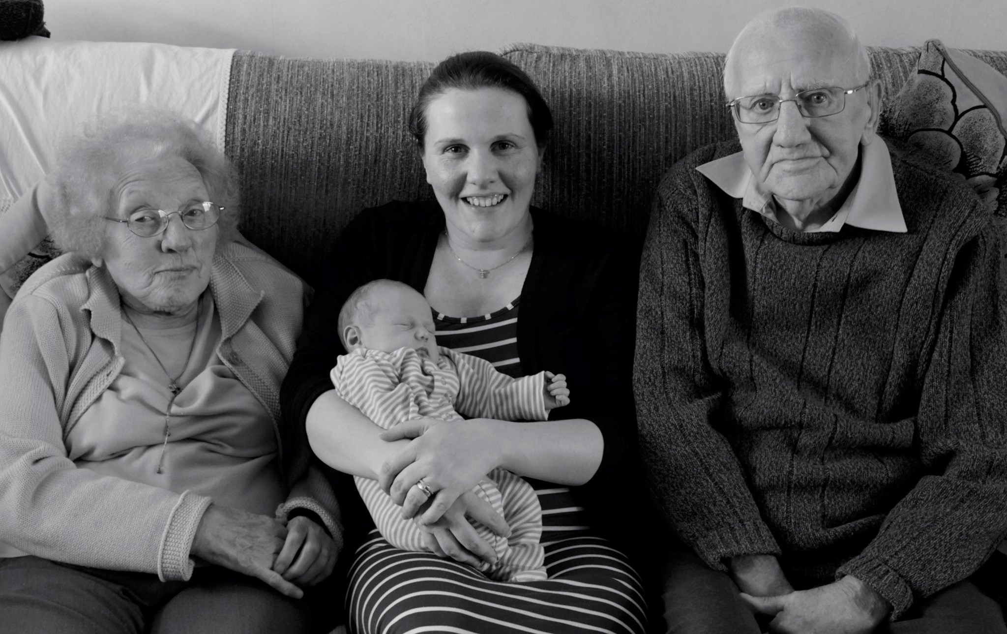 Nan and Grandad meeting their first Great Grandson Arthur