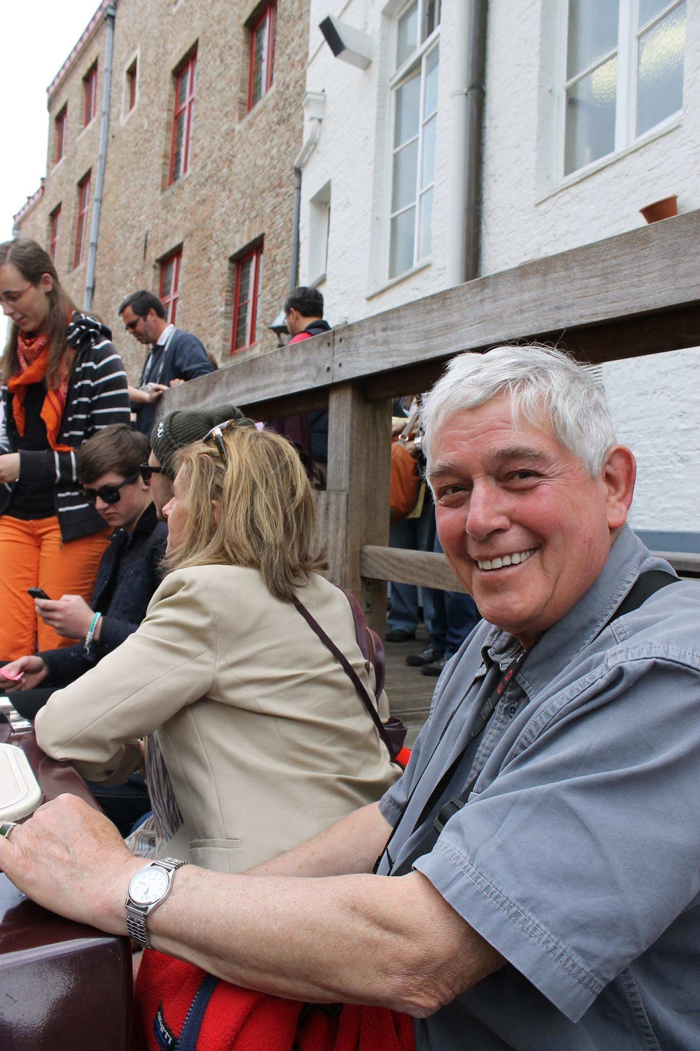 Dad on boat trip in Bruges - 29th May 2013