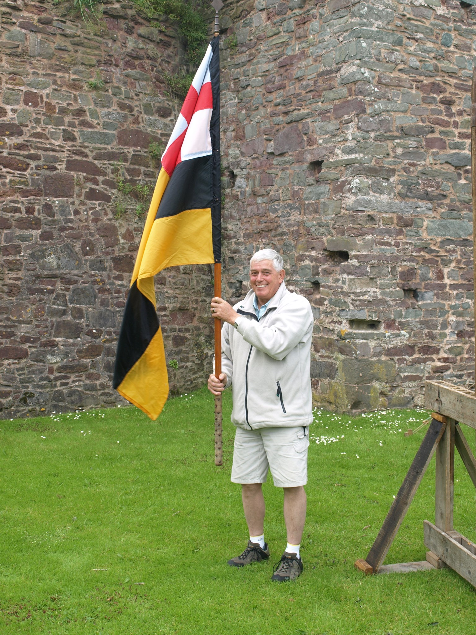 Tony flying the flag at Laugharne Castle!