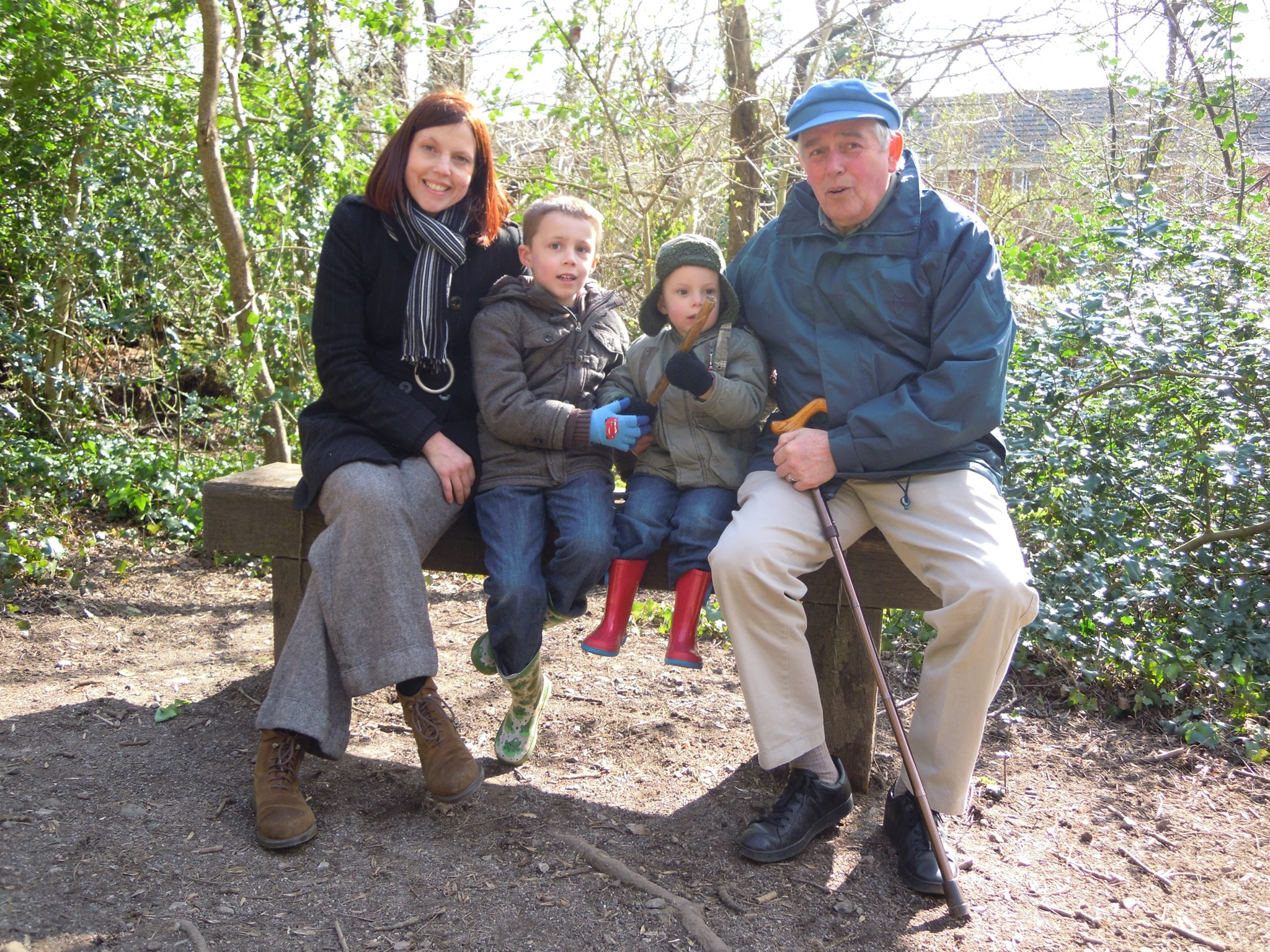 Tony on an nature trail with Clare,Boris and Ivan, Cardiff 2013