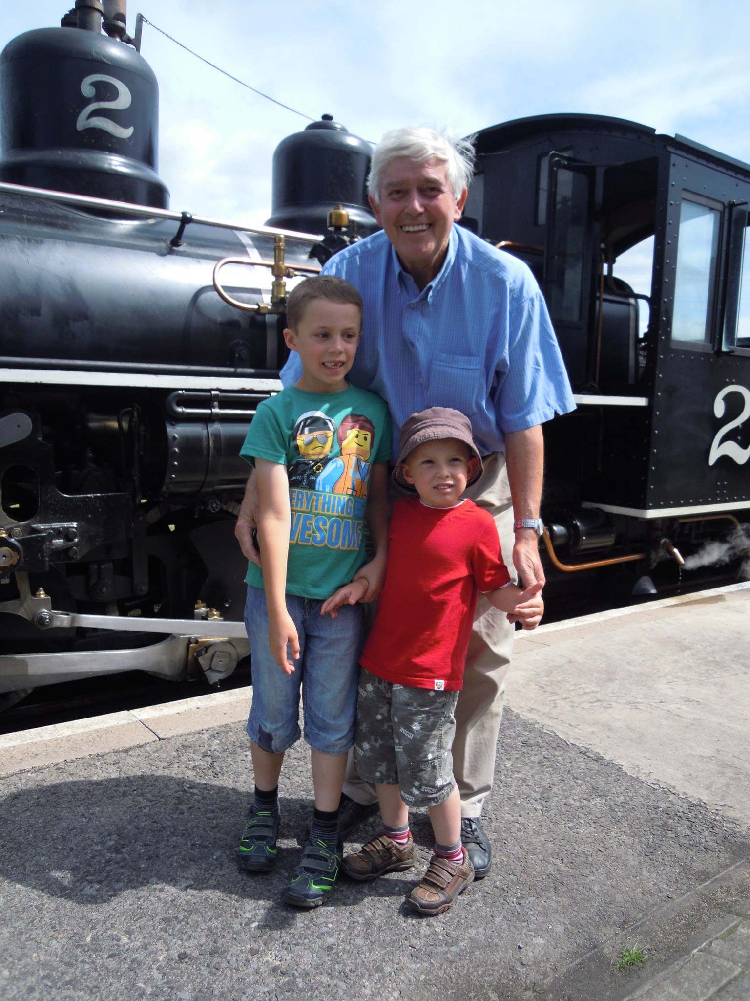 What is it with Boys and steam engines? Tony, Boris and Ivan at Brecon Mountain Railway 2014