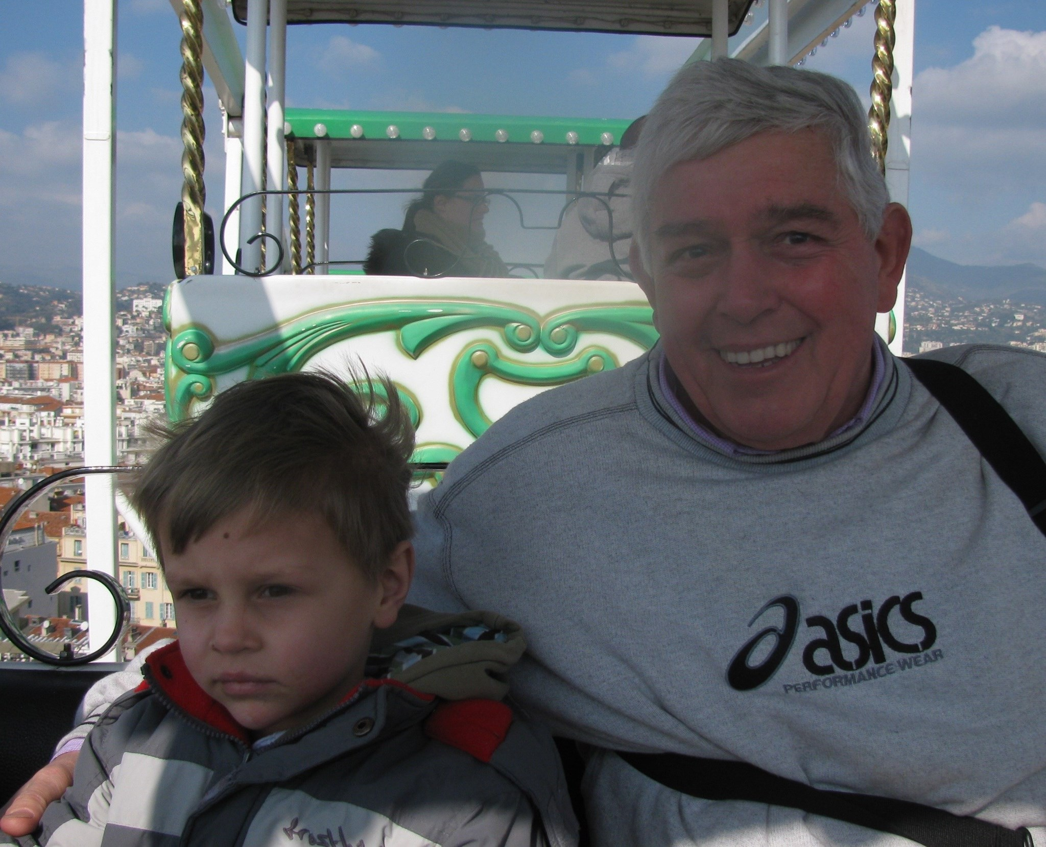 Stanley and grandad Tony on the big wheel at Nice carnival - February 2011