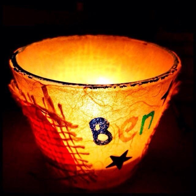 Candle made at Christopher's in Ben's memory.