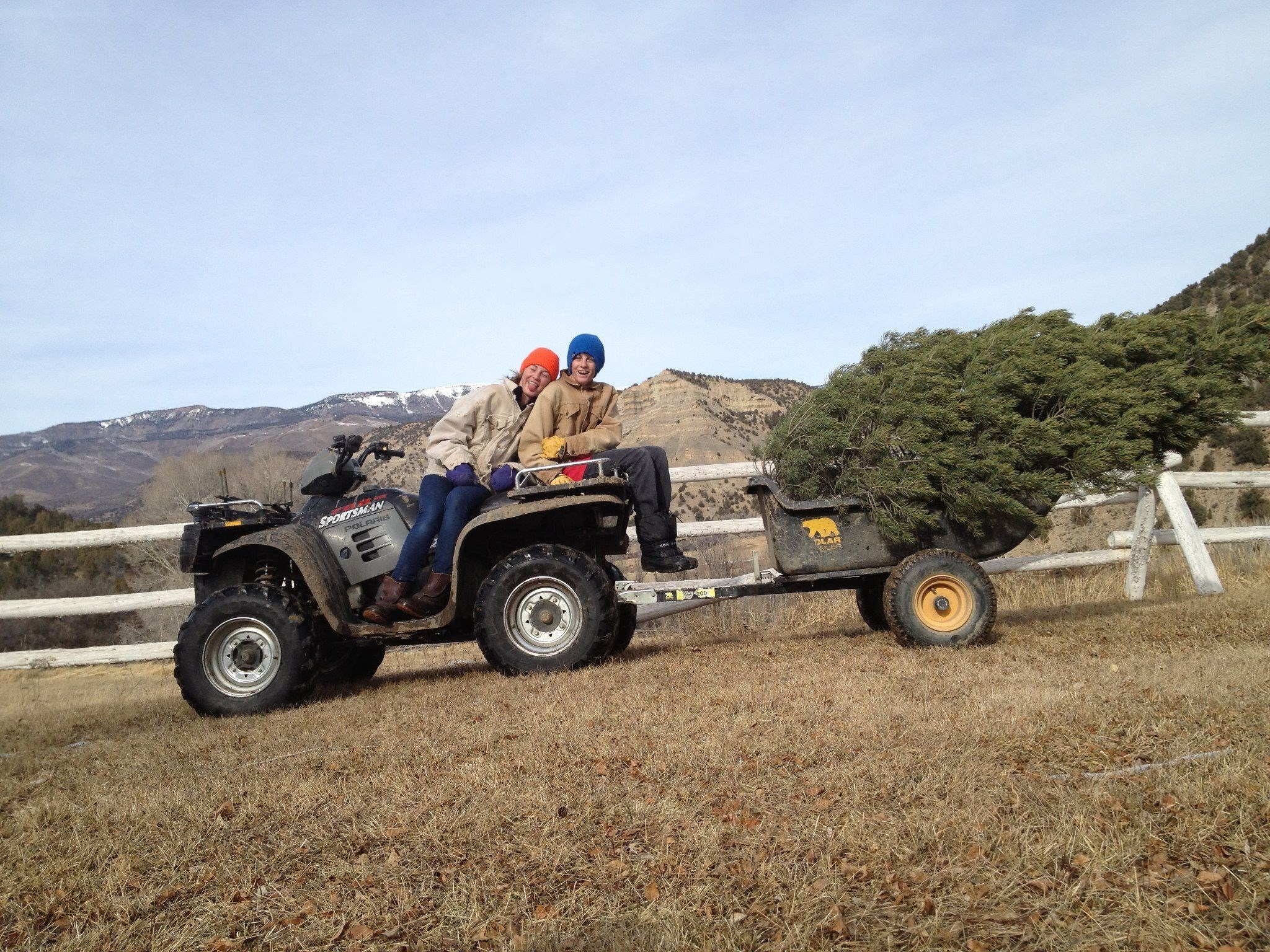 Got the tree! Taft and Maddie, Sweetwater Ranch, 2
