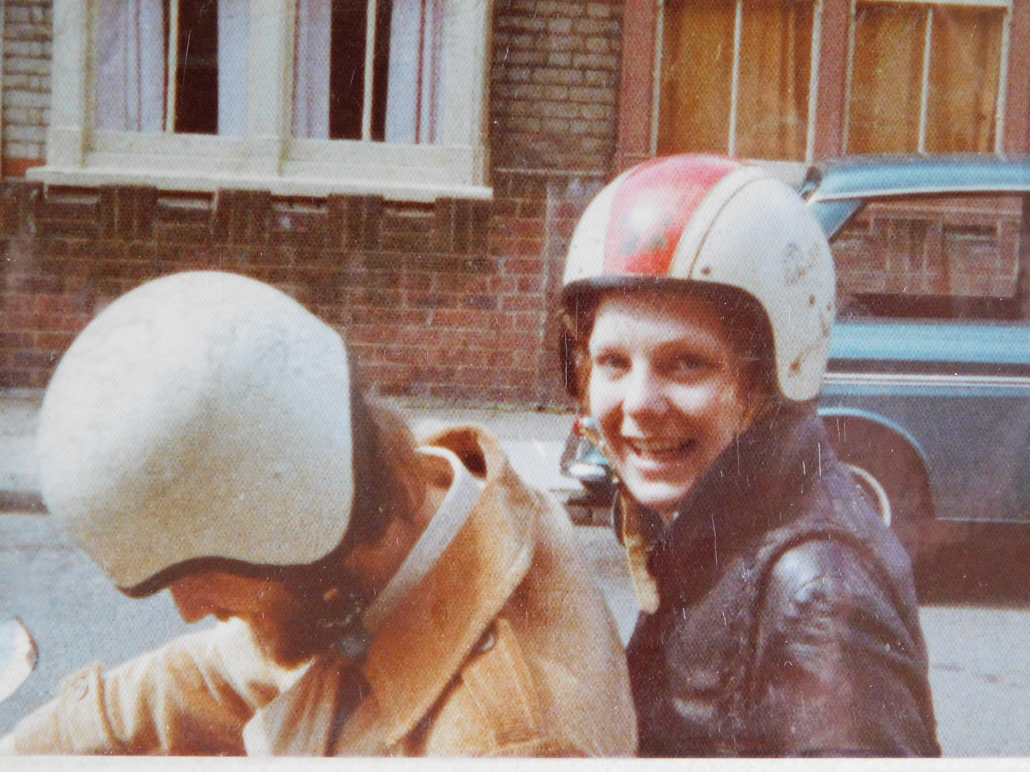 Mavis & Gav on his mighty Honda 90 in 1974