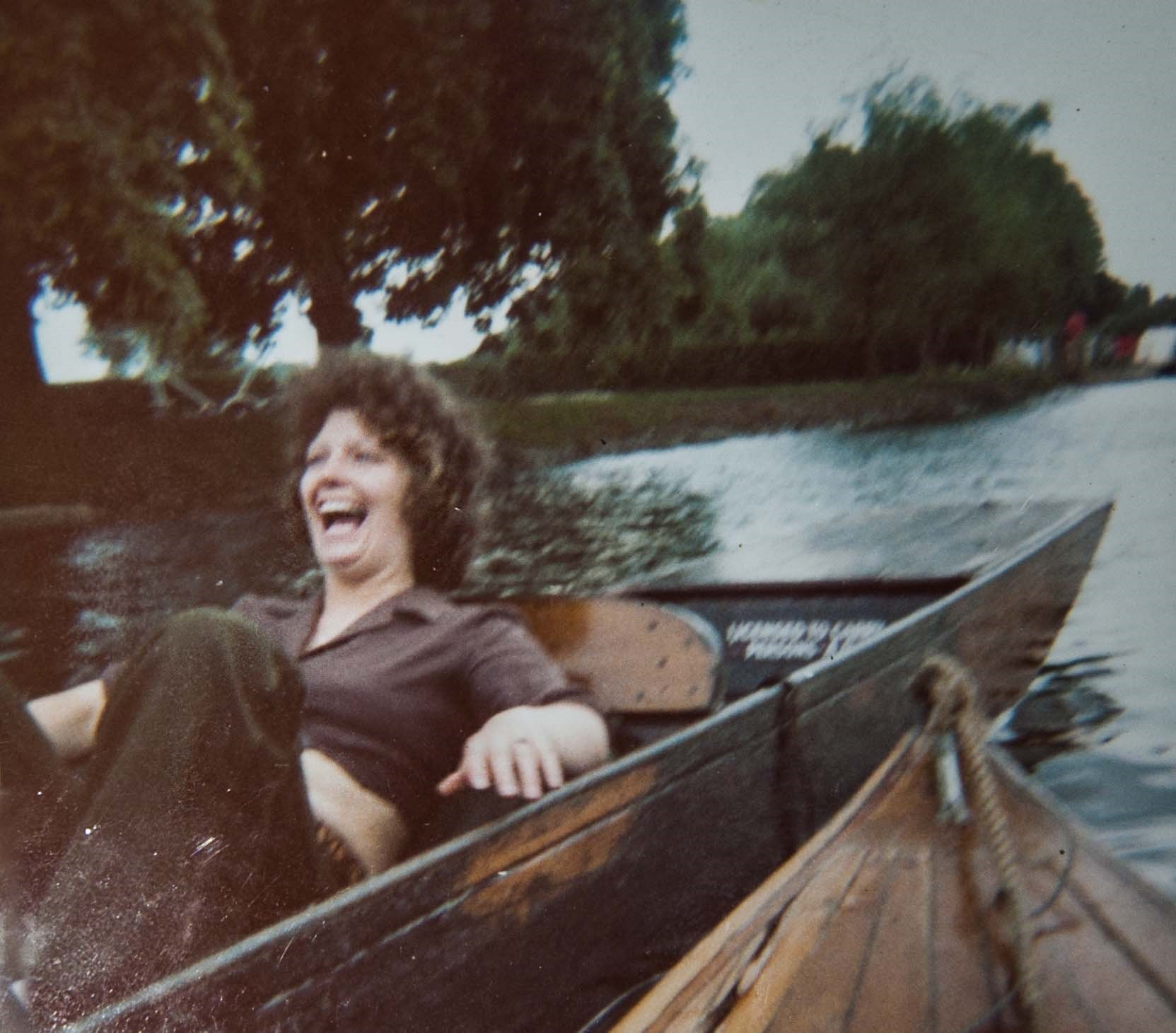 Typical Mavis.....Stratford..circa 1975....we rammed the punt she and Gavin were on, nearly throwing everyone into the water...she laughed her head off...x