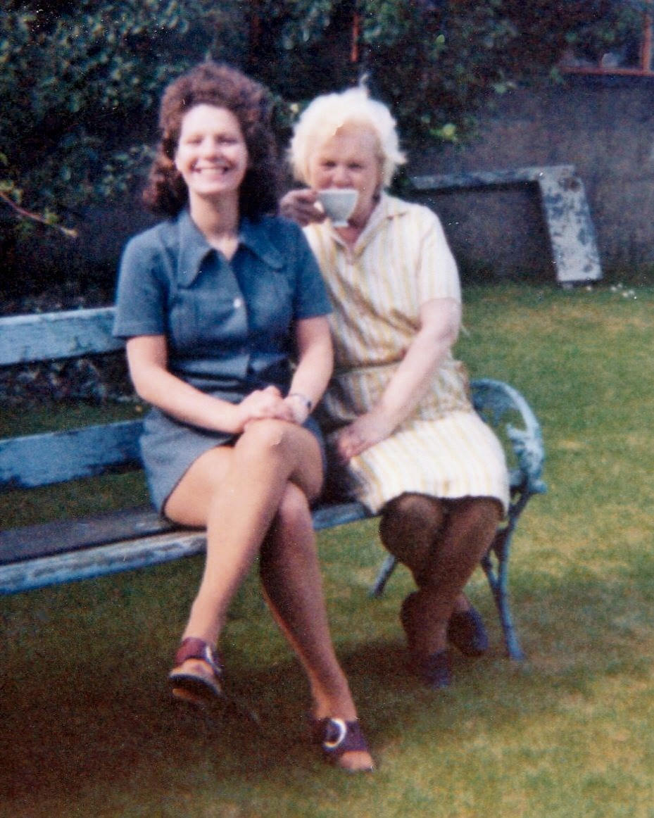 Mavis and Mum in back garden Milltimber