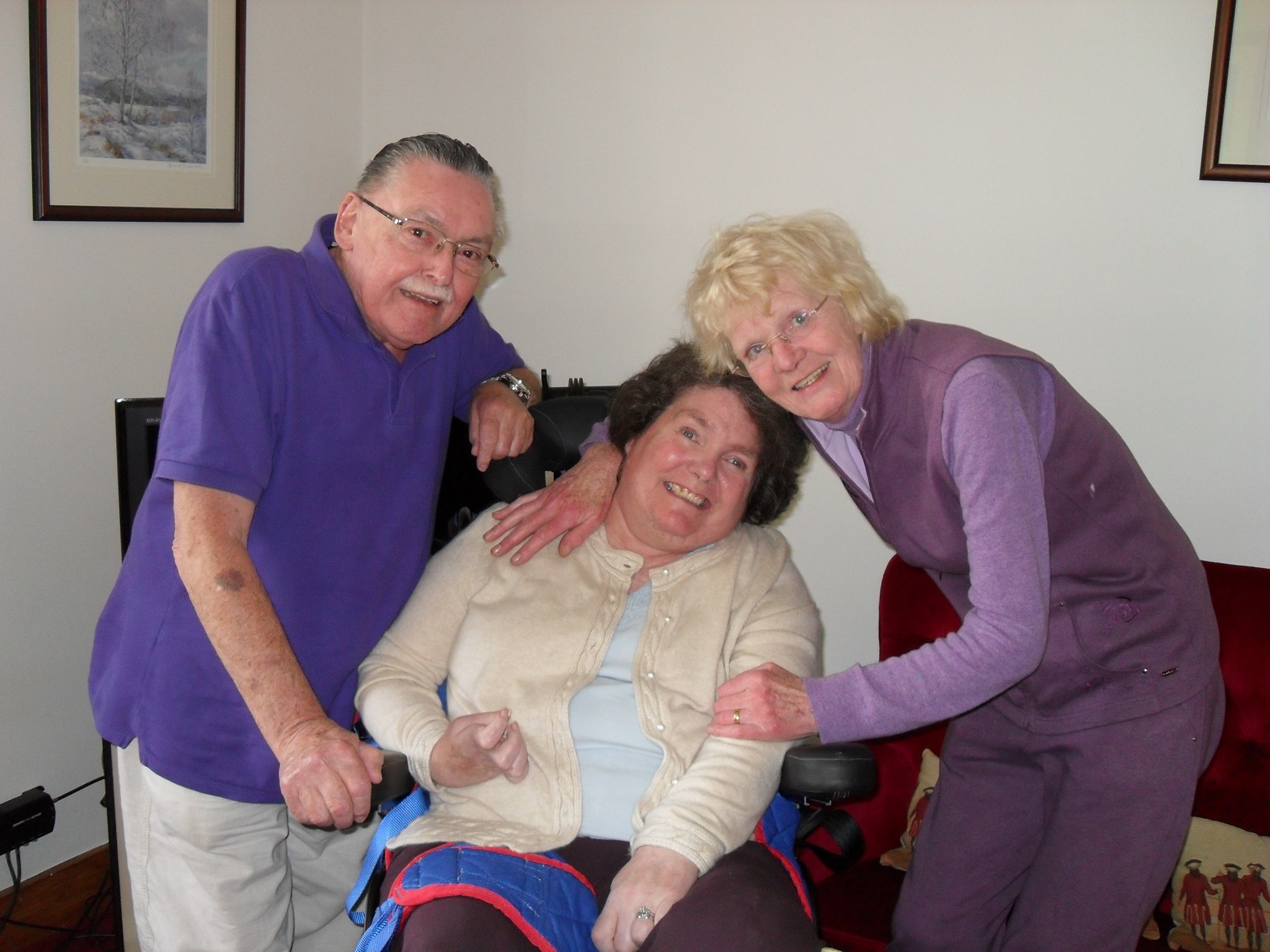 Mavis with sister Ruth and husband Cha, Dinnet, 2010