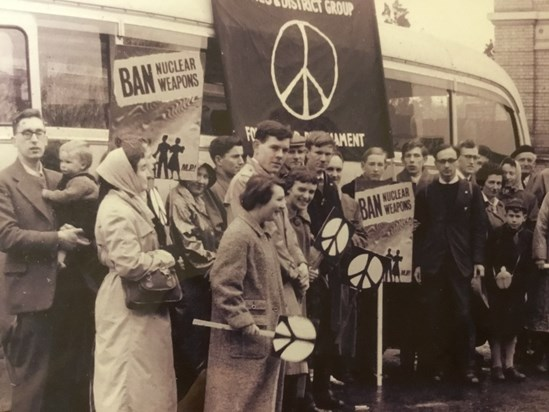 On a CND march in the 50s. Barbara is the pretty one smiling in the middle, Brian is on her left