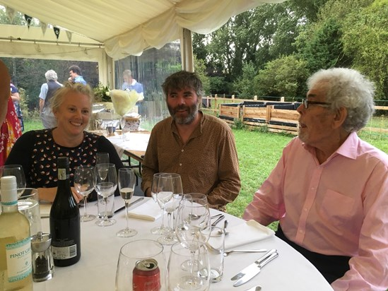 Brian, with Alasdair and Sam Firth (Frank's son and daughter-in-law) Aug 2018