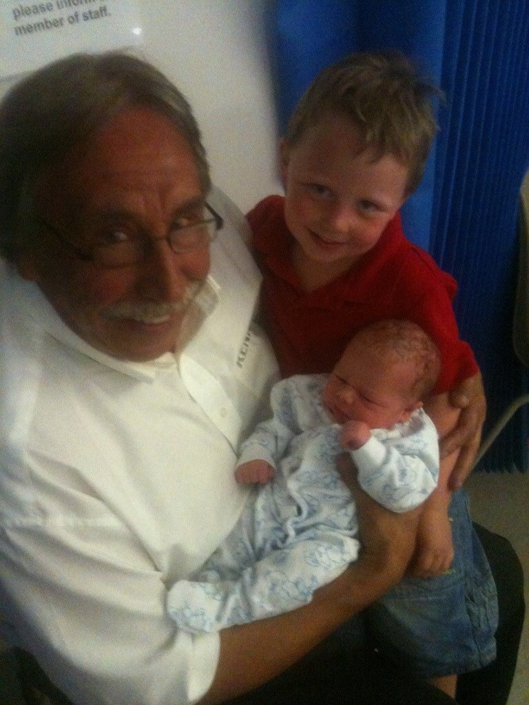 Grandad with Grandson No1, Gary, and Grandson No3, Michael, who was only a few hours old.