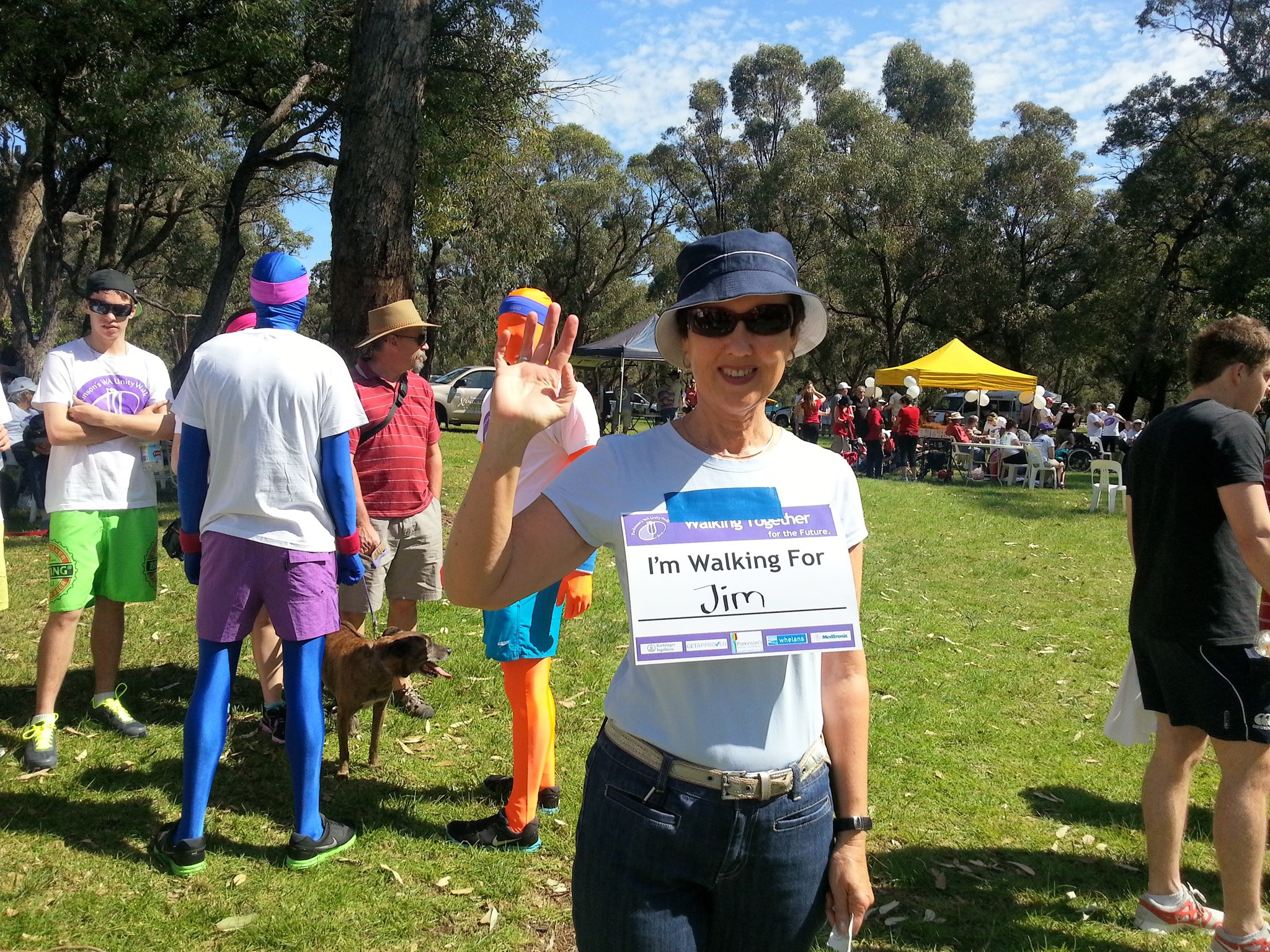 Cousin Mary fundraising for a cure, in Jim's name - 2013 W. Australia Parkinson's Unity Walk.