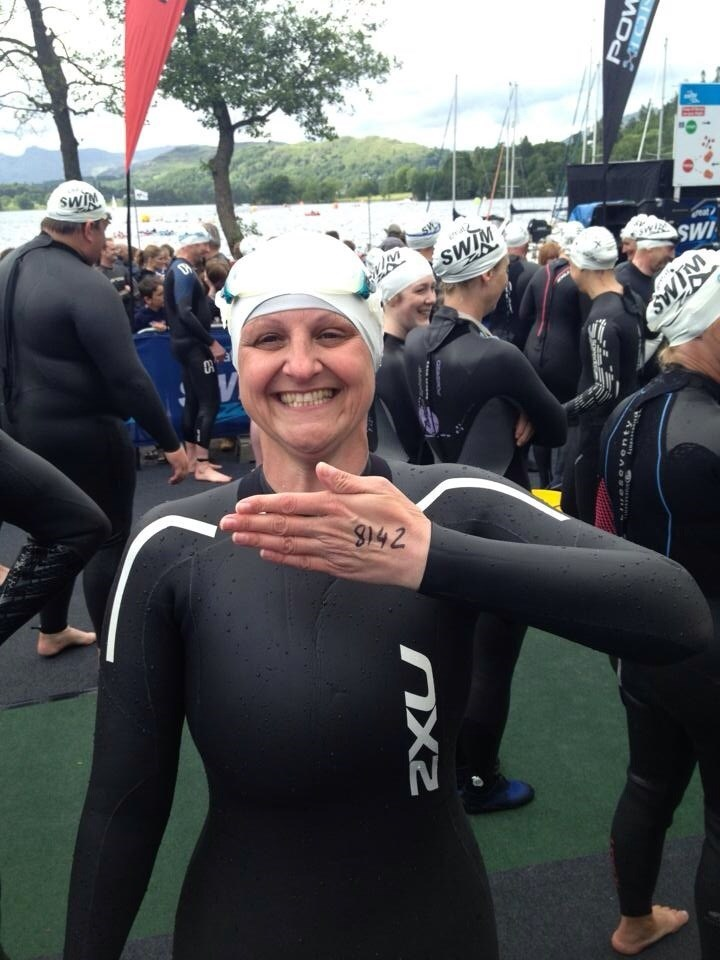 Anita Dobson about to do the Great North Swim in Liz's Honour.