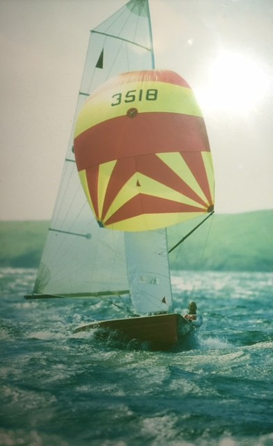 Here are some brilliant images of Ian and I sailing - wonderful memories- this one blasting and smiling ar Abersoch!