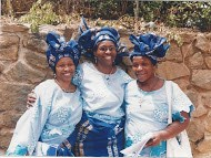 Iyetade with sisters Peyi (leftmost) and Moremi