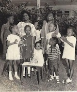Iyetade and family as young children with Granny.