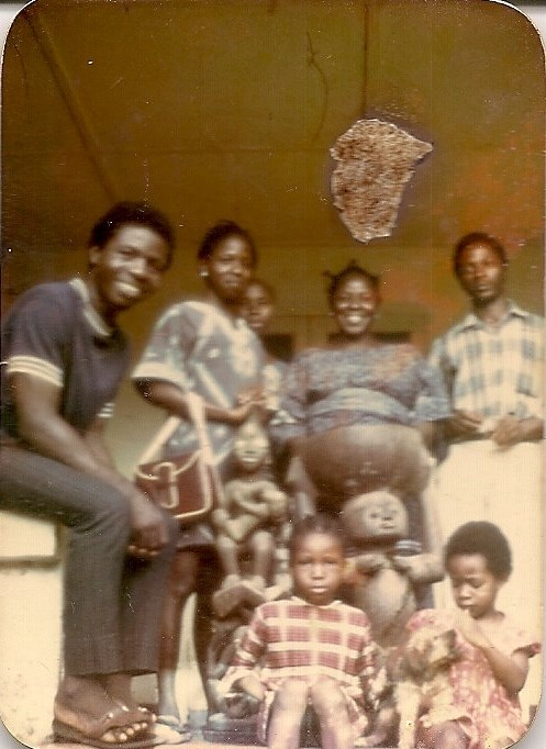 Iyetade, left, Peyibomi, right, with Uncle Kayode, Modupe, MamaLaide & Uncle Kunle, UI 1970