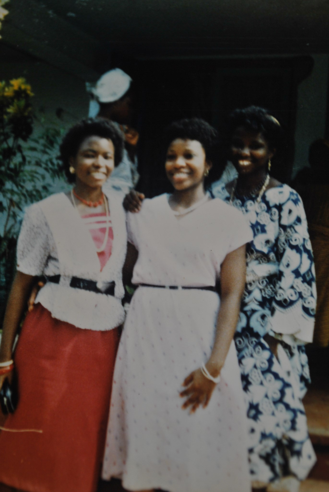 Tade and friends, UCH 1987 005 { Tade at the middle, Buki on the right and Ope on the left.