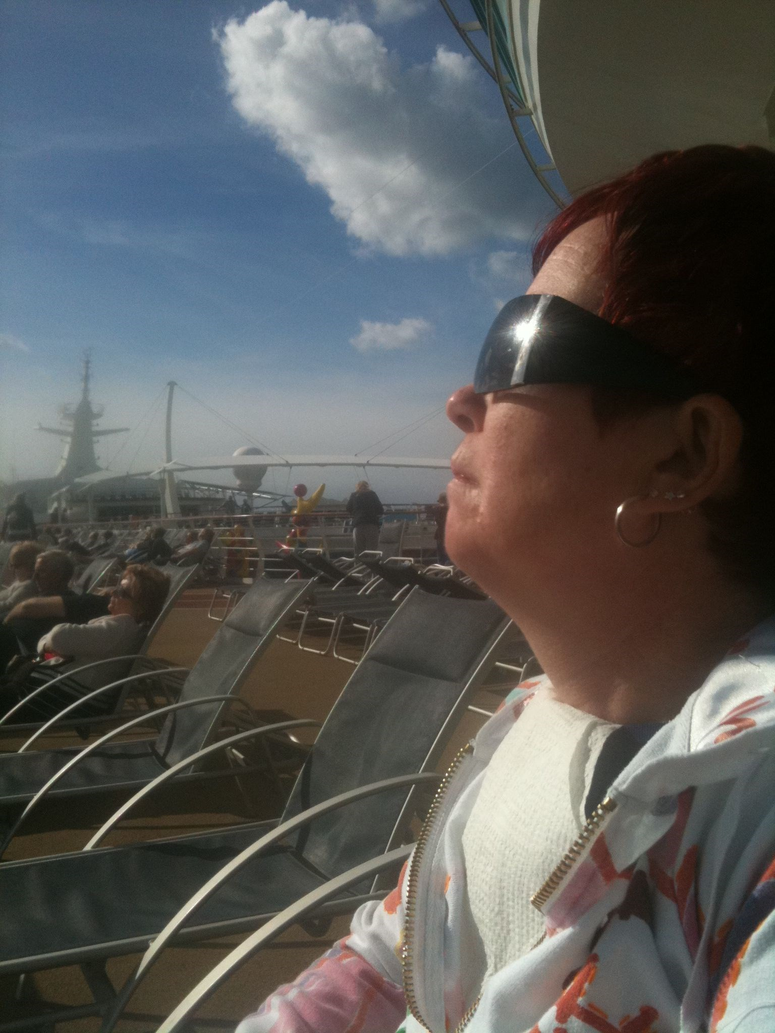 Carol Enjoying the Sunshine   Cruise October 2010