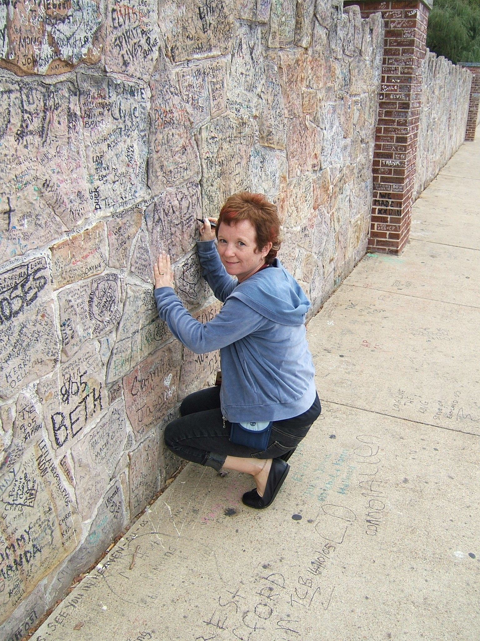Carol Writing on The Wall   Graceland October 2005