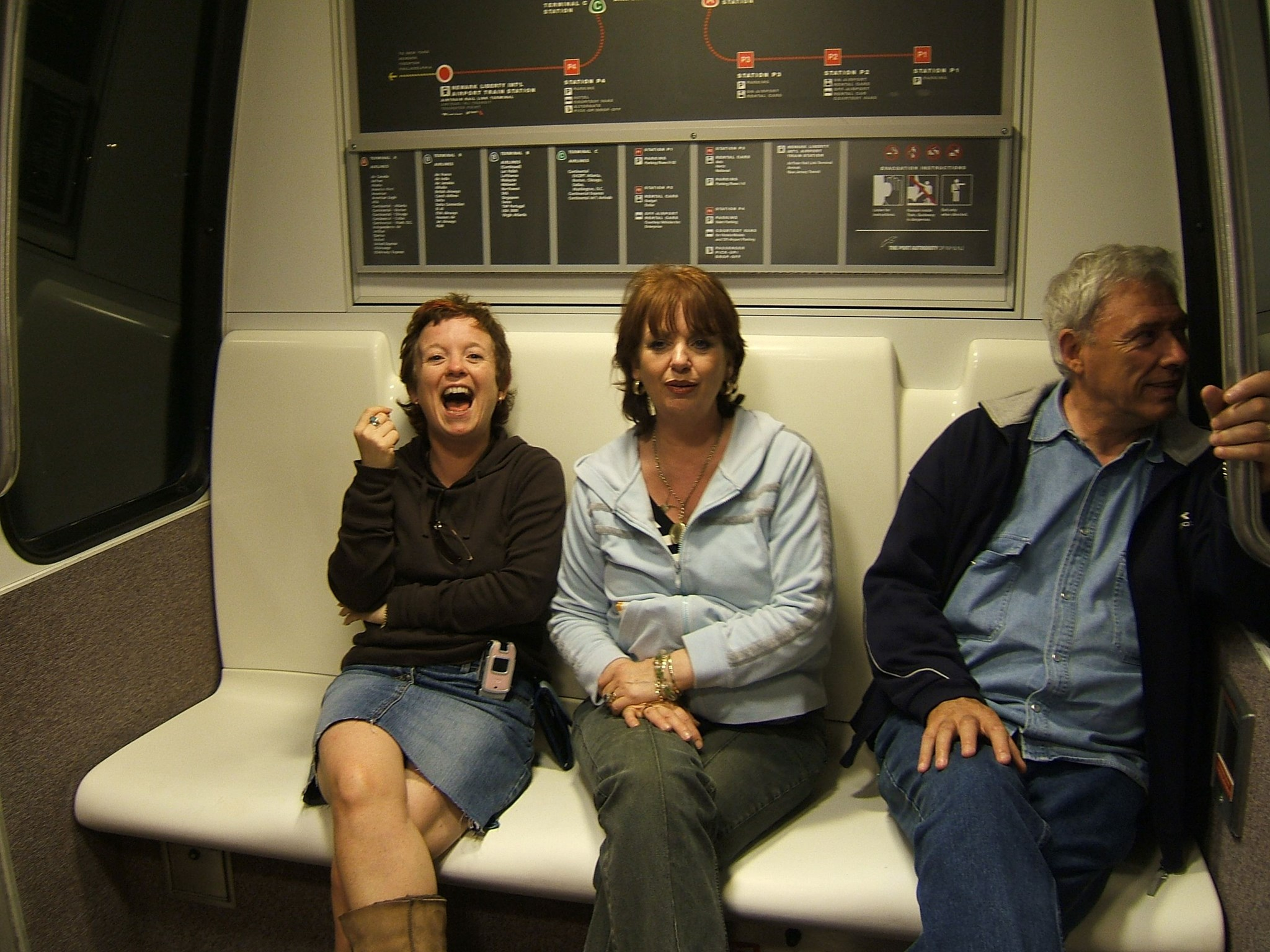 Carol, Margaret & Michael   Airtrain Newark October 2005
