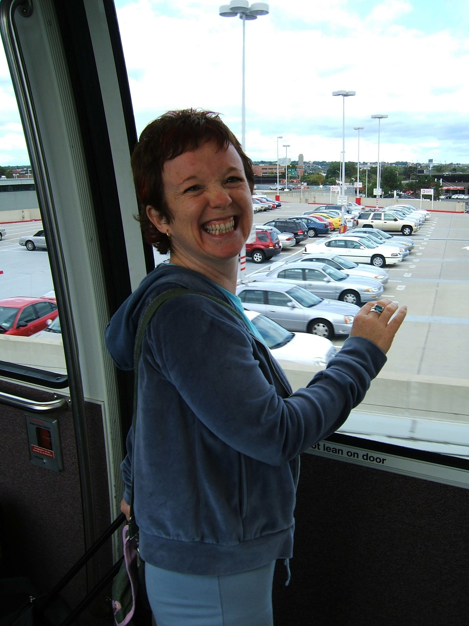 Carol on the Airtrain   Newark October 2005