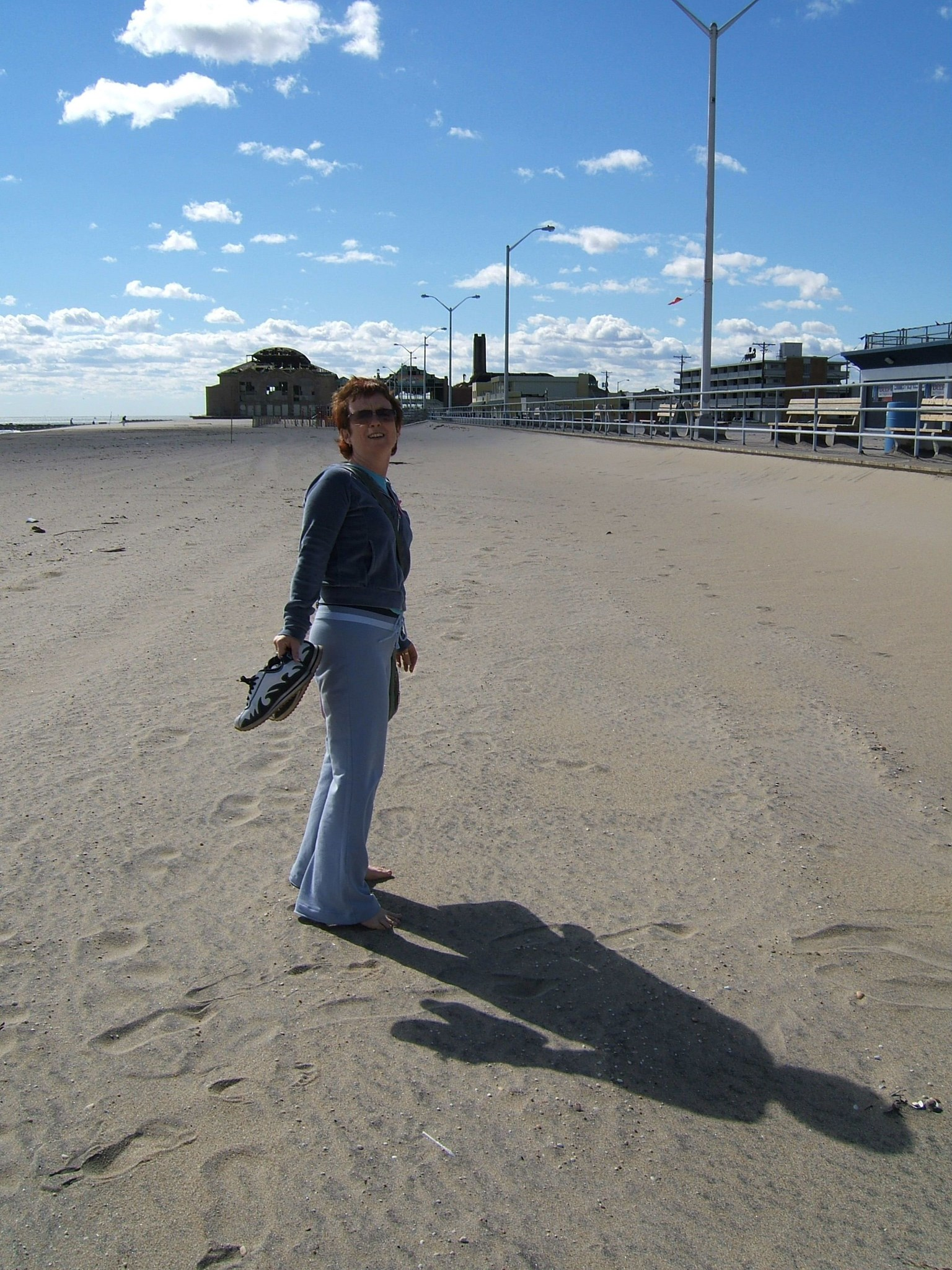 Carol on The Beach   Asbury Park New Jersey   October 2005