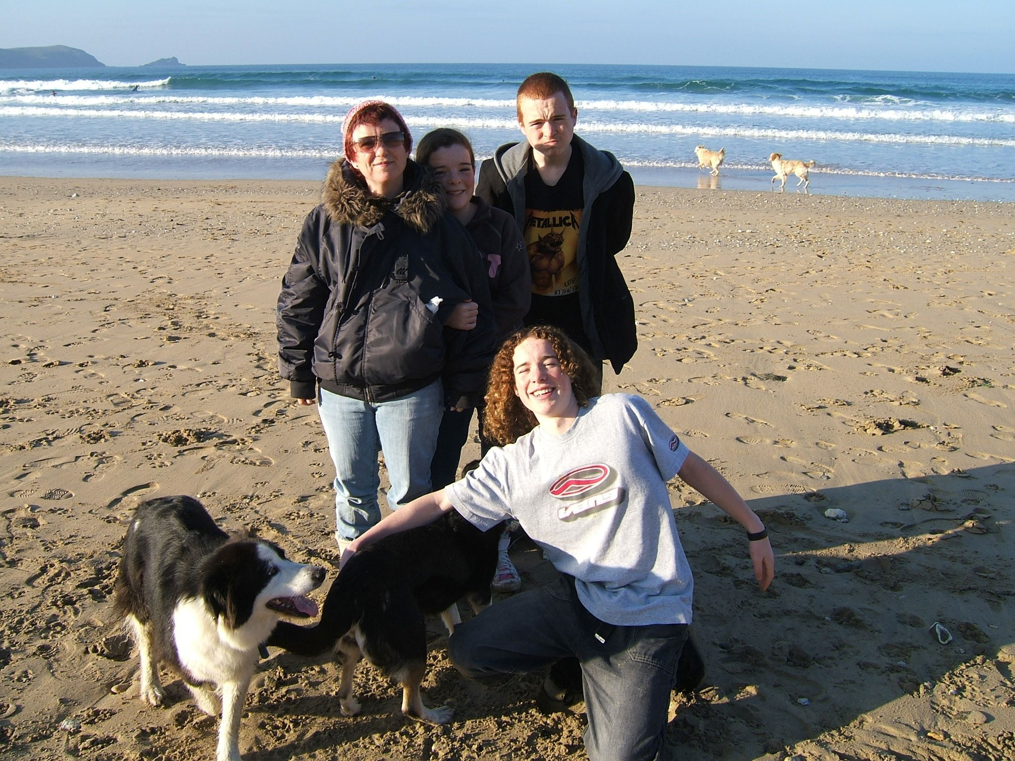 Carol, Kids & Dogs   Fistral Beach Xmas Day 2005