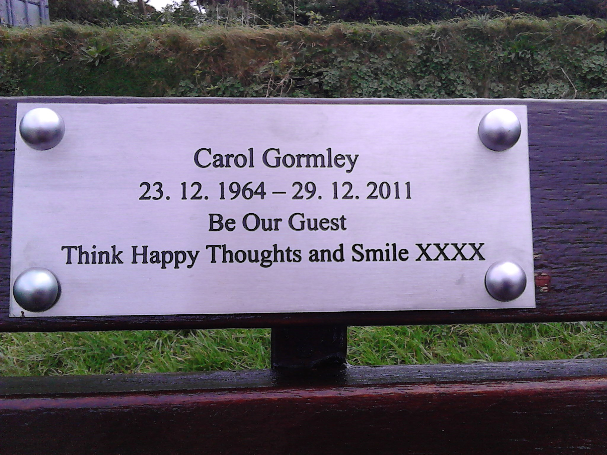 Carol's Bench - Newquay Boating Lake January 2016