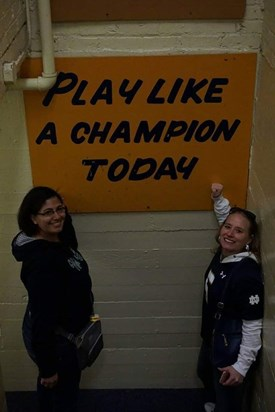 We got to tour the Notre Dame locker room. Stacie was beside herself!