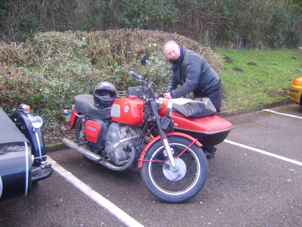 Graham on his way to a rally with one of his 'eccentric' bikes. As I will remember him.