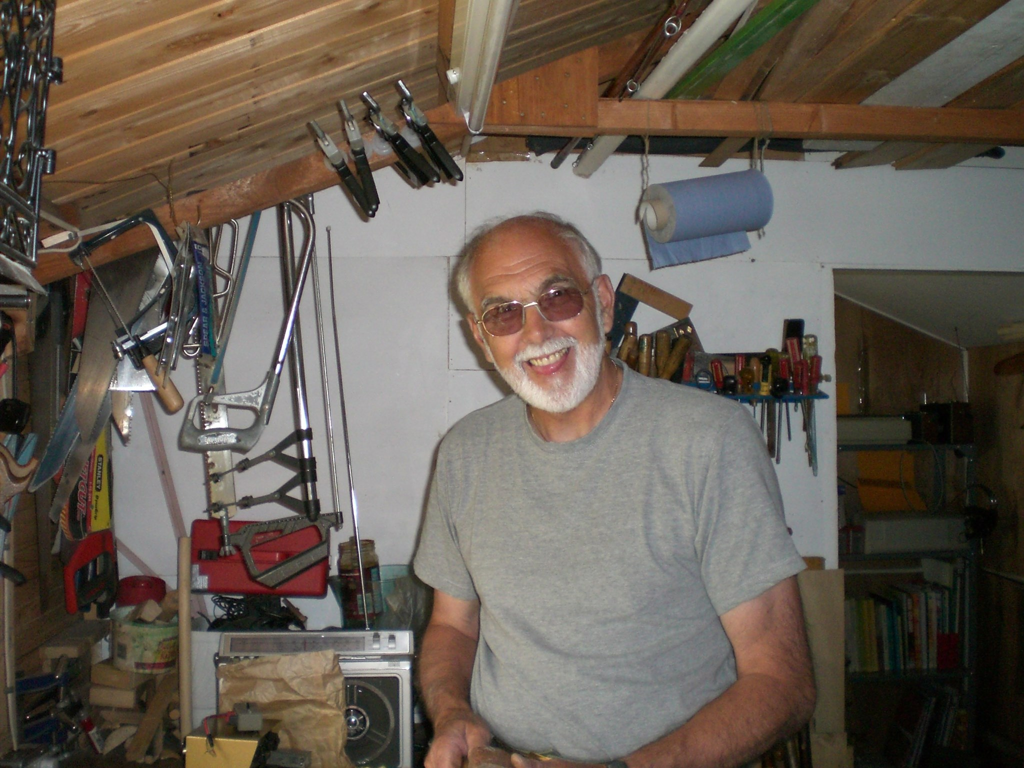 Dad  where he was most content  - in his Workshop 2006